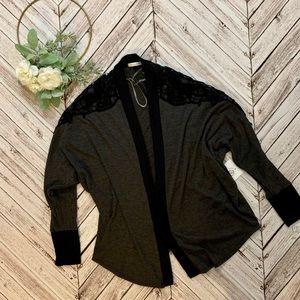 NEW grey and black long sleeve cardigan